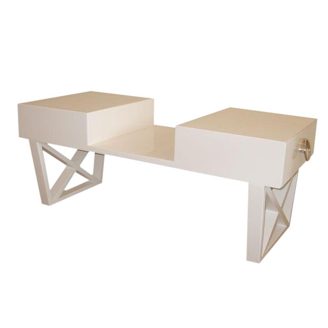 White Lacquered Over Wood Mid Century X Frame Cocktail Table For Sale
