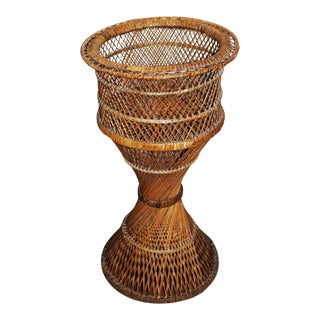 Vintage Wicker Floor Plant Stand For Sale