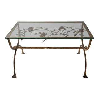 Gilded Iron Coffee Table Depicting Flowers and Foliage For Sale