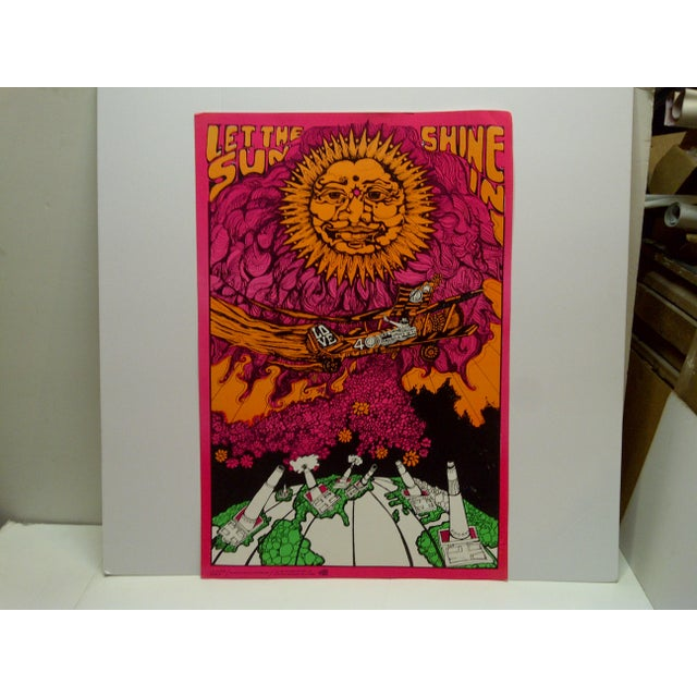 """This is a Vintage -- Blacklight Poster -- Titled """"Let The Sun Shine In"""" -- By Dunham And Deatherage -- Circa 1970"""
