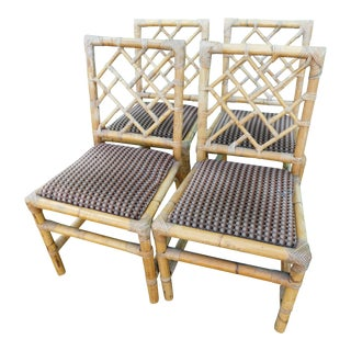 Vintage Rattan Chippendale Chairs - Set of 4 For Sale