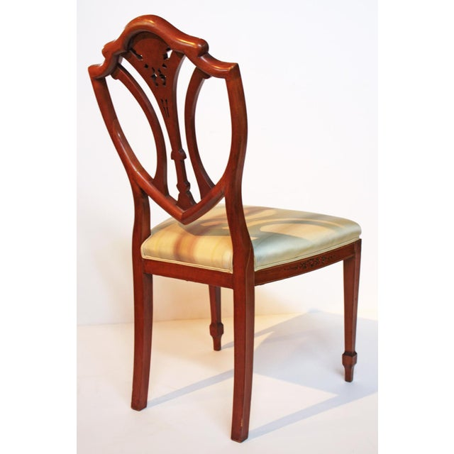 Early 20th Century Pair of Painted Edwardian Satinwood Shield Back Chairs For Sale - Image 5 of 9