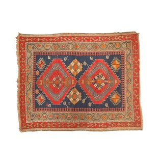 Antique Caucasian Square Rug - 4' X 5' For Sale