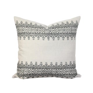 Peter Dunham Linen Fabric Isfahan Charcoal and Gray Striped Pillow Cover For Sale