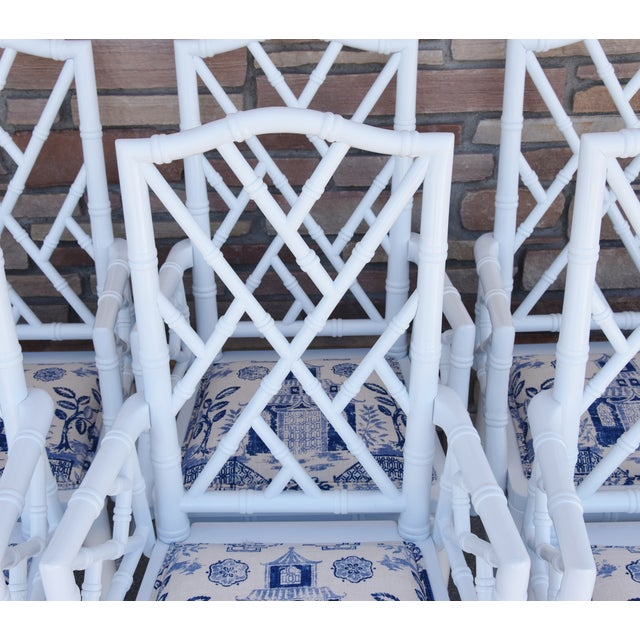 1950s Chinoiserie Faux-Bamboo Chippendale-Style Dinning Armchairs - Set of 6 For Sale - Image 4 of 13