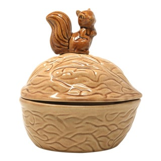 Vintage Ceramic Walnut Lidded Dish With Squirrel Handle For Sale