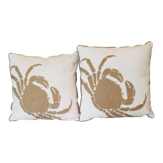 Decorative Ecru Muslin Crab Pillows - A Pair