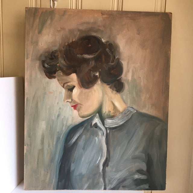 Vintage Female Portrait Painting For Sale In Los Angeles - Image 6 of 7
