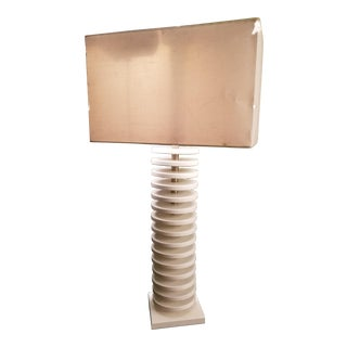 20th Century Danish Modern White Wood Stacked Disc Lamp