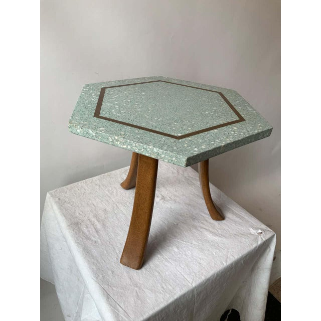 Mid-Century Modern 1950s Harvey Probber Blue Terrazzo Tripod Side Table For Sale - Image 3 of 9