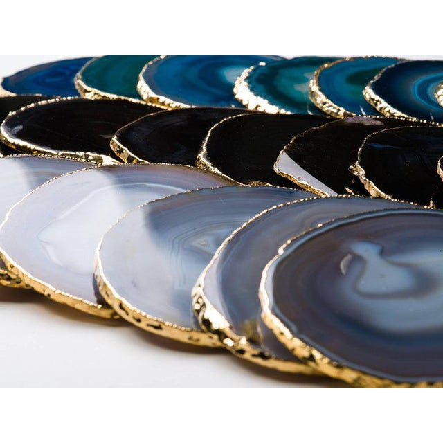 Set of Eight Semi-Precious Gemstone Coasters Grey Agate Wrapped in 24-Karat Gold For Sale - Image 9 of 11