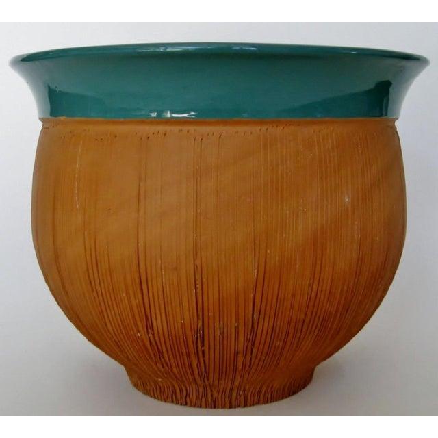Scored Terracotta & Teal Planter - Image 3 of 5