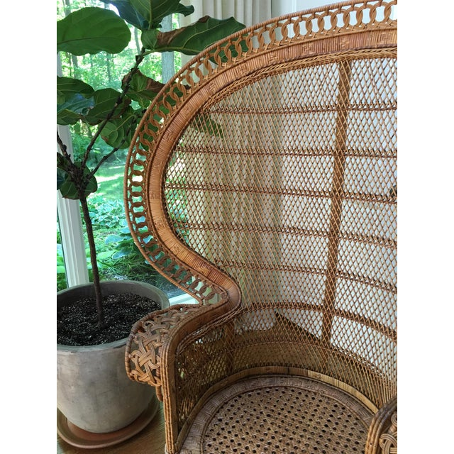 Asian Vintage Emmanuel Wicker Peacock Chair For Sale - Image 3 of 13
