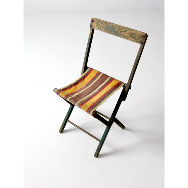 Incredible Vintage Striped Camp Stool Bralicious Painted Fabric Chair Ideas Braliciousco