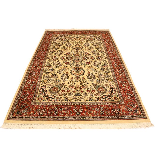 2000s Adil Pak-Persian Alexia Ivory/Rust Wool Rug - 5'1 X 8'2 For Sale - Image 5 of 8