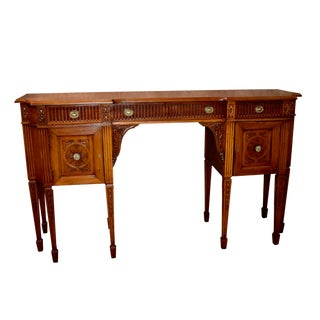 Vintage Carved Mahogany Federal Style Eight Leg Shaped Sideboard For Sale