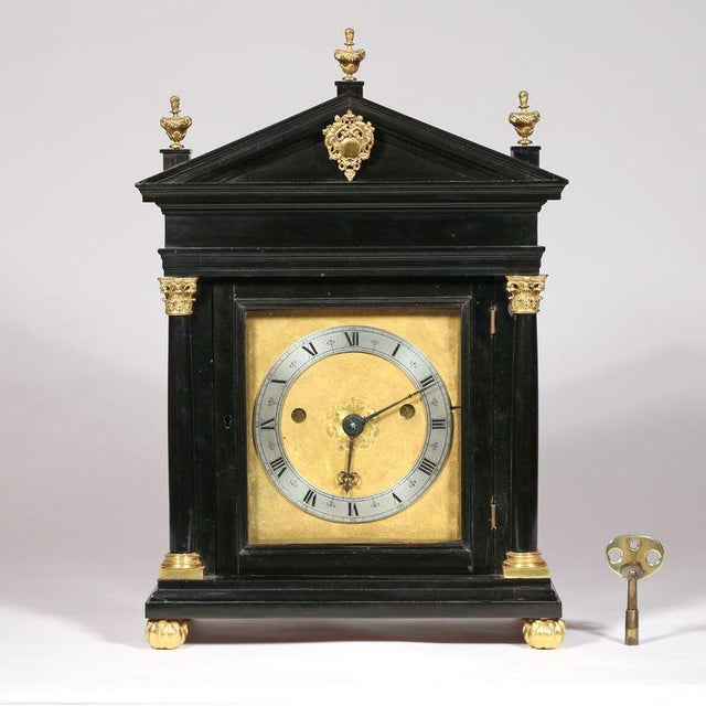 English Traditional Edward East (1602-1697): Charles II Ebony Table Clock For Sale - Image 3 of 10