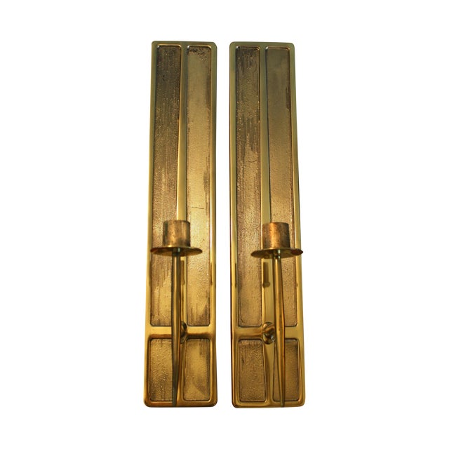 Mid-Century Modern Brass Candle Sconces - A Pair For Sale