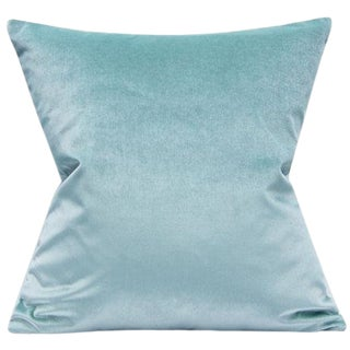 Light Aqua Shimmer Velvet Pillow Cover For Sale