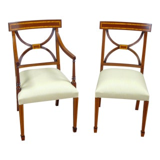 Sheraton Inlaid Mahogany Arm Chair - Pairs For Sale