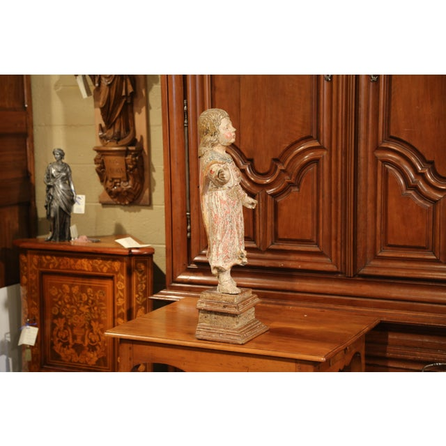 17th Century French Hand-Carved Polychromed Painted Statue of Saint on Stand For Sale - Image 4 of 11