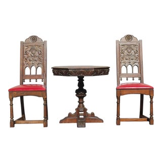 Rennaisance Revival Carved Oak Tea Table & Chairs
