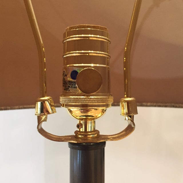 Traditional Harp and Finial Mackay Collection Chemical Madison Bronze Table Lamp For Sale - Image 3 of 5