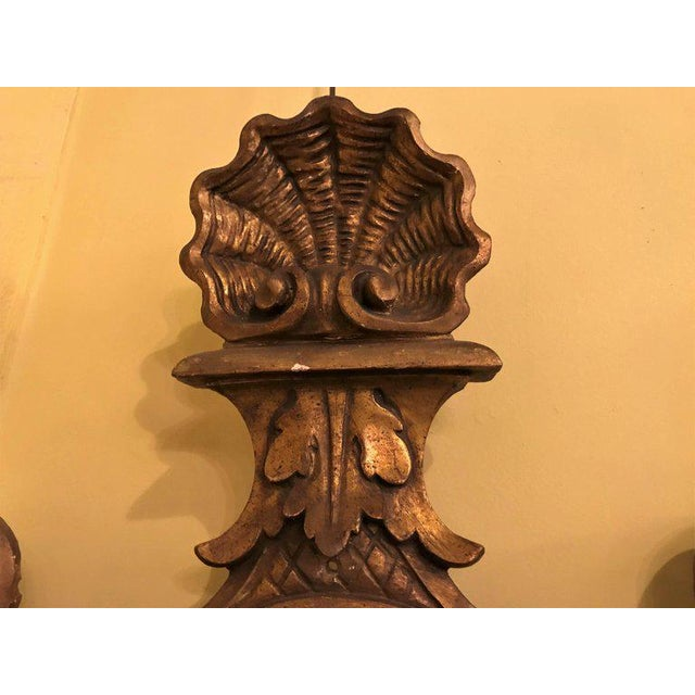 19th Century Carved Lion Head Shell Form Wooden Sconces - a Pair For Sale - Image 4 of 10