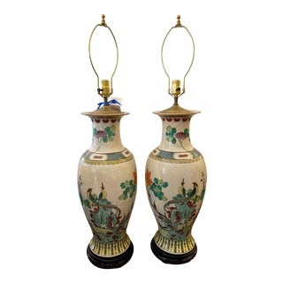 Vintage Chinese Crackle Pottery Table Lamps - a Pair For Sale