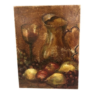 Original Wine and Fruit Still Life Painting For Sale