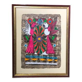 """Framed Folk Art Mexican """"Bird"""" Chalk on Bark Painting For Sale"""