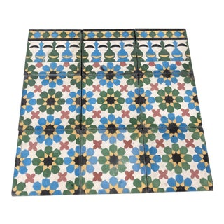 Moroccan Encaustic Cement Tiles with Traditional Fez Moorish Design For Sale