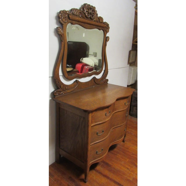 Americana Early 20th Century Antique Tiger Oak Dresser & Mirror For Sale - Image 3 of 7