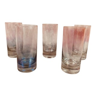 Vintage Italian Colored Glass Tumblers - Set of 5 For Sale