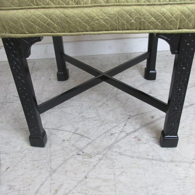 Fabric Vintage Chinese Chippendale Style Stools - a Pair For Sale - Image 7 of 9