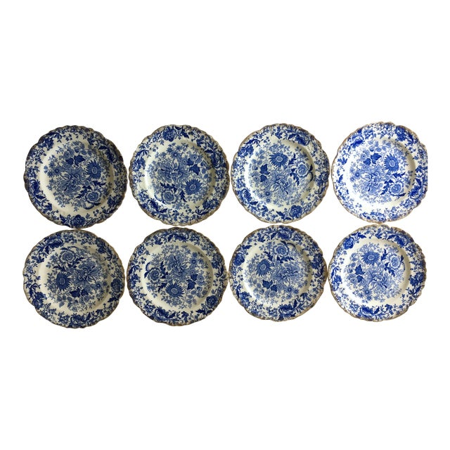 Vintage Blue & White Chintz Transferware Plates - Set of 8 For Sale
