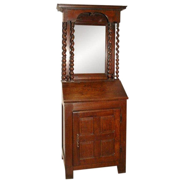 Early 18th Century French Petite Bureau Secretaire Desk With Projecting Cabinet For Sale