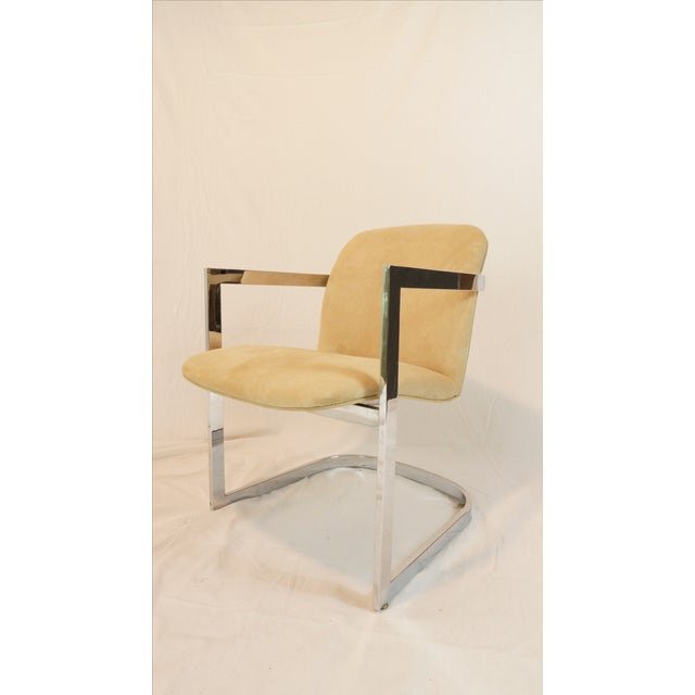 Vintage Chrome Armchair With Suede Upholstery - Image 2 of 5
