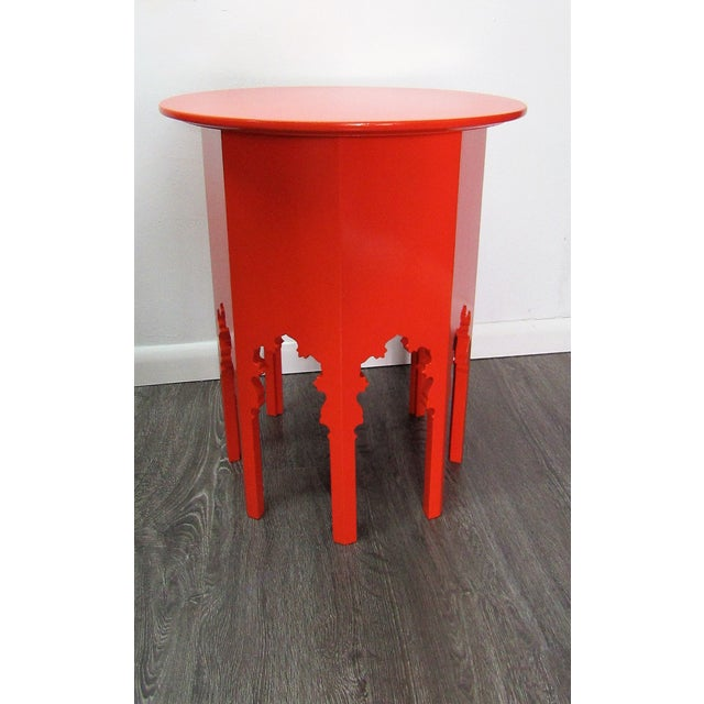 Late 20th Century Moroccan Style Wood Table , New Orange Lacquer Finish For Sale - Image 5 of 5