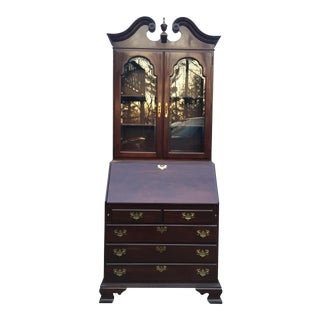 "Ethan Allen Cherry ""Georgian Court"" Style Secretary Desk Bookcase"