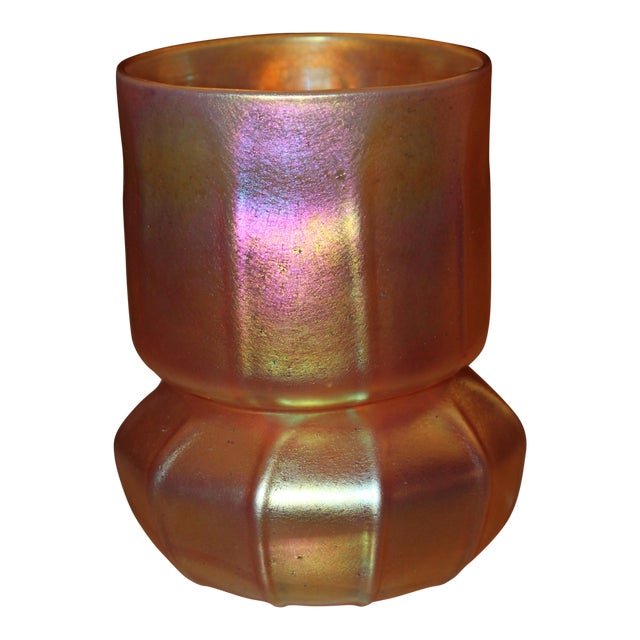 Contemporary Steuben Gold Aurene Style 2 Piece Candle Holder - Image 1 of 9