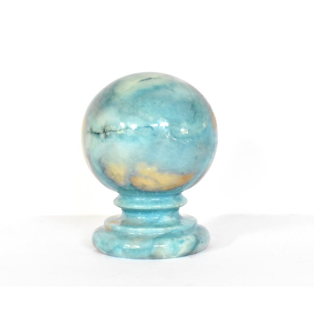 Late 20th Century Vintage Italian Duccheschi Blue and Tan Alabaster Round Paper Weight For Sale - Image 5 of 12