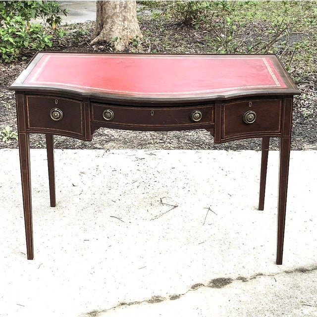 Writing Table, Edwardian Period English in Mahogany With Leather Top For Sale - Image 4 of 12