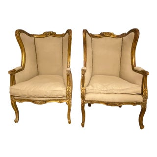 Vintage French Colonial Original Gilt Finished Winged Bergere Chairs - a Pair For Sale
