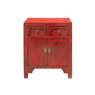 Chinese Oriental Distressed Red Side End Table Nightstand