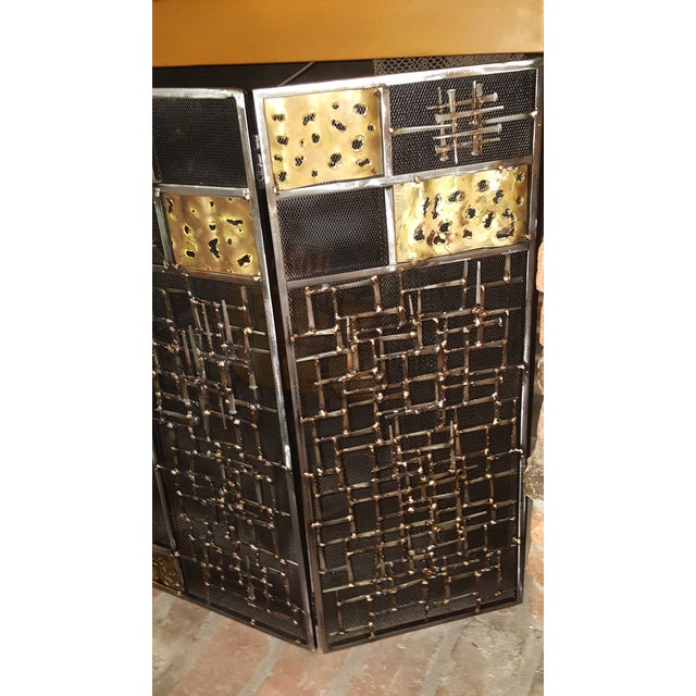 Brutalist Welded Sculptural Fireplace Screen - Image 6 of 9