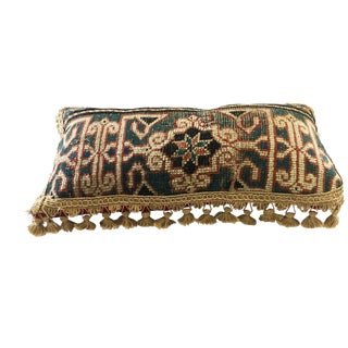 "Antique Caucasian Fragment Lumbar Pillow 16"" W"