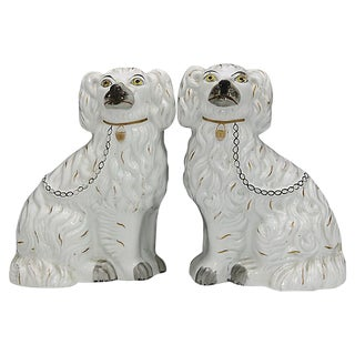 Antique English Staffordshire King Charles Spaniels For Sale