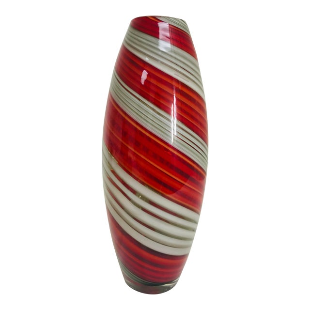 Contemporary Art Glass Red & Grey Swirl Vase For Sale