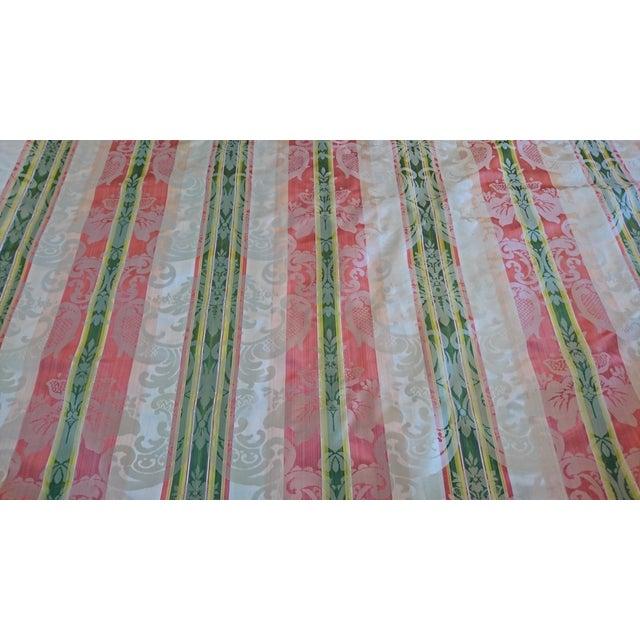 Scalamandre Tarantella Orange and Green Stripe Silk Fabric - 67 Yards - Image 1 of 4
